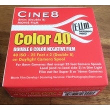 Double 8 Film - Cine8 Color Negative 40 - Daylight 40ASA (25 ft / 7.6m)
