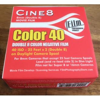 Double 8 Film - Cine8 Color Negative 40 - Daylight 40ASA (25 ft / 7.6m)