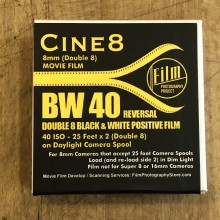 Double 8 Film - Cine8 BW Reversal 40 ISO (25 ft / 7.6m)